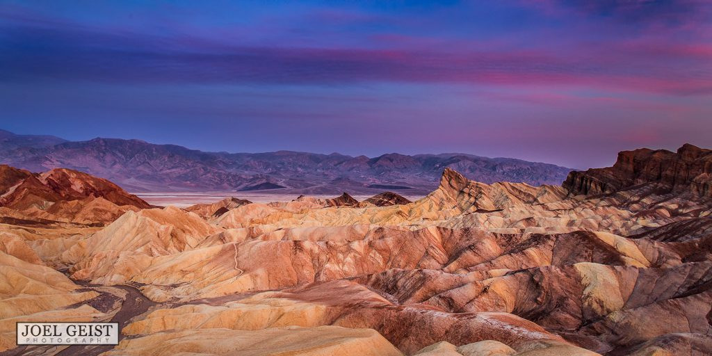 Death Valley National Park, Zabriskie point, sunrise, purple, mountains